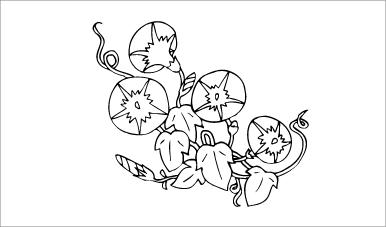 木彫図案集|朝顔-02|サンプル