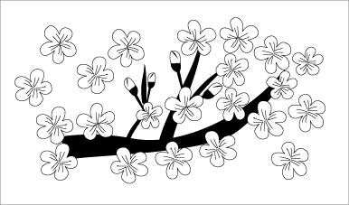 木彫図案集|桜-02|サンプル