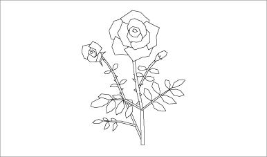 木彫図案集|バラ-01|サンプル