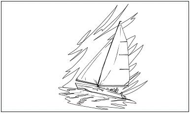 木彫図案集|ヨット-01|サンプル