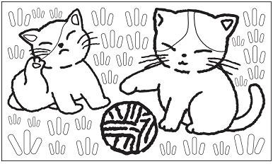 木彫図案集|猫-01|サンプル