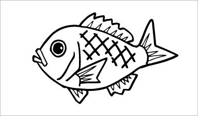 木彫図案集|魚-01|サンプル