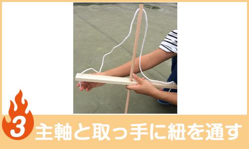 主軸と取っ手に紐を通す