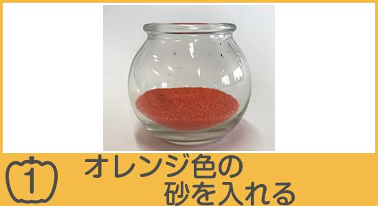オレンジ色の砂を入れる