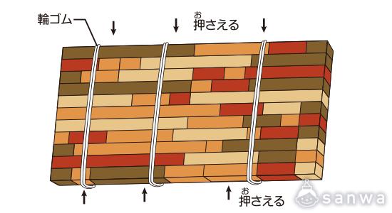 寄せ木の作り方|輪ゴムの場合
